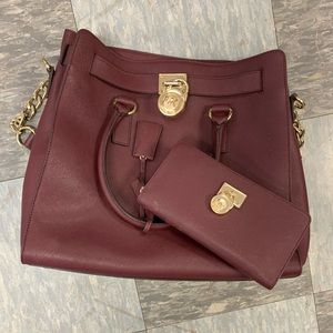 Burgundy Michael Kors Purse and Wallet Set